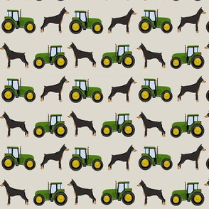 Doberman Pinscher tractor farm fabric dog breeds natural