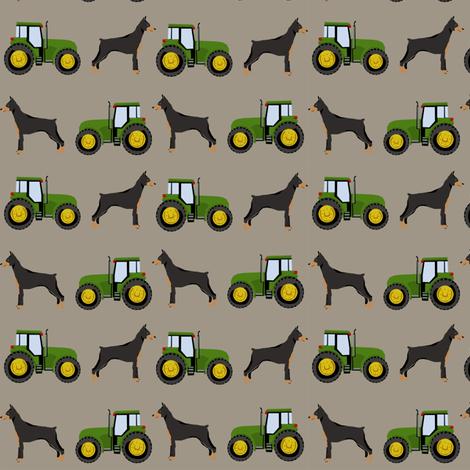 Doberman Pinscher tractor farm fabric dog breeds brown fabric by petfriendly on Spoonflower - custom fabric