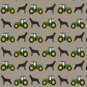 Doberman Pinscher tractor farm fabric dog breeds brown