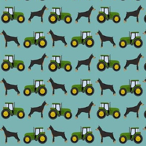 Doberman Pinscher tractor farm fabric dog breeds turquoise