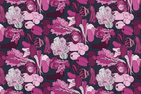 Roses  & Veggies fabric by pond_ripple on Spoonflower - custom fabric