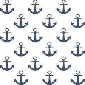 One Inch Blue Jeans Blue Anchors on White
