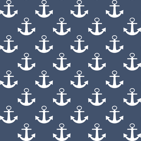 One Inch White Anchors on Blue Jeans Blue fabric by mtothefifthpower on Spoonflower - custom fabric