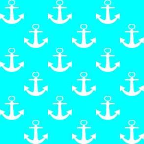 One Inch White Anchors on Aqua Blue
