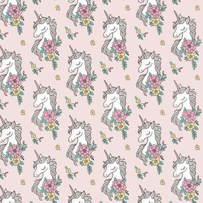 Dreamy Unicorn & Vintage Boho Flowers on  Light Pink Smaller 2 inch