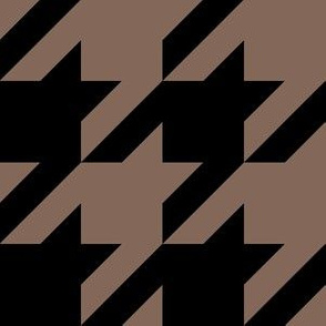 Three Inch Taupe Brown and Black Houndstooth