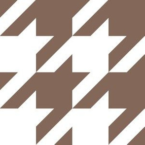 Three Inch Taupe Brown and White Houndstooth