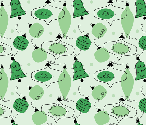 Vintage baubles ~ greenery fabric by retrorudolphs on Spoonflower - custom fabric