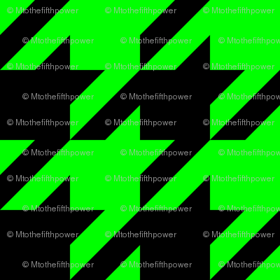 Three Inch Lime Green and Black Houndstooth