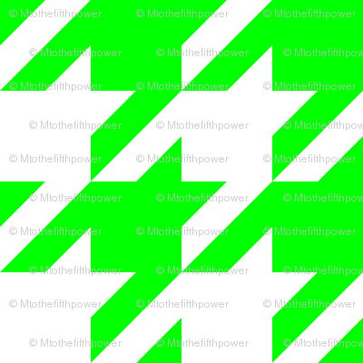 Three Inch Lime Green and White Houndstooth