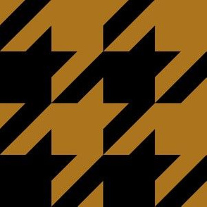 Three Inch Matte Antique Gold and Black Houndstooth