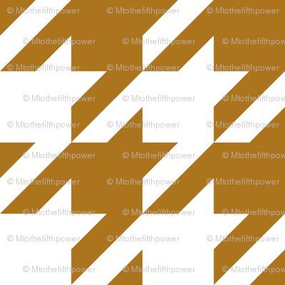 Three Inch Matte Antique Gold and White Houndstooth