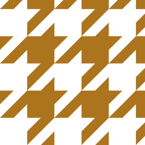 Three Inch Matte Antique Gold and White Houndstooth fabric by mtothefifthpower on Spoonflower - custom fabric