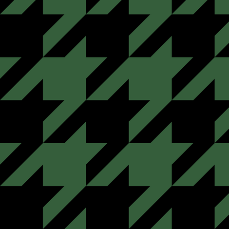 Three Inch Hunter Green and Black Houndstooth fabric by mtothefifthpower on Spoonflower - custom fabric