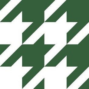 Three Inch Hunter Green and White Houndstooth