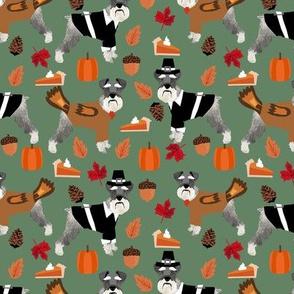 Schnauzer thanksgiving holiday fall autumn dog fabric med green