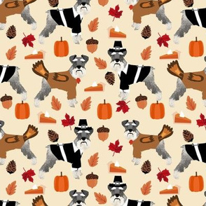 Schnauzer thanksgiving holiday fall autumn dog fabric beige