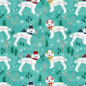Poodle winter snow dog fabric white coat poodles turquoise