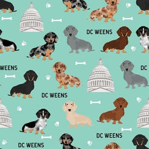 DC capitol dachshund dog breed fabric mint