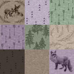 Shenandoah Patchwork - plum, green, mocha - deer and fox