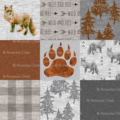 Fox Forest Quilt - Rust, Grey, Tan Linen Texture