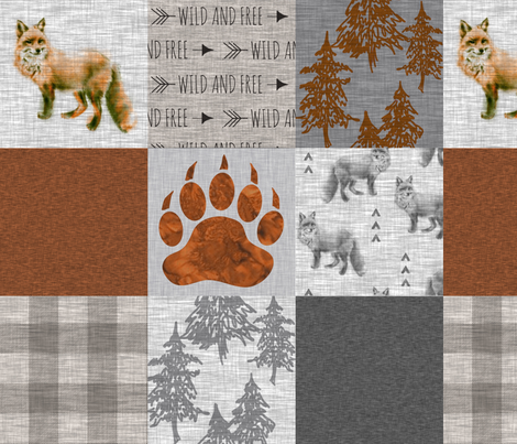 Fox Forest Quilt - Rust, Grey, Tan Linen Texture fabric by sugarpinedesign on Spoonflower - custom fabric
