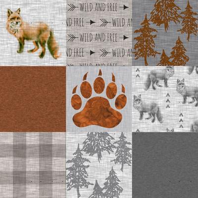 """3"""" Forest Fox Quilt - rust,grey,tan linen texture"""
