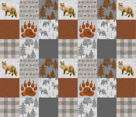 """3"""" Forest Fox Quilt - rust,grey,tan linen texture fabric by sugarpinedesign on Spoonflower - custom fabric"""