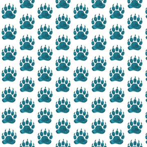 """2"""" Bear Paws - teal watercolor on white"""