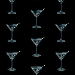 "2"" martini glasses - blue/black"