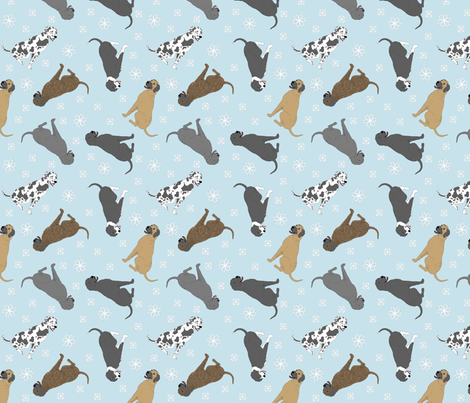 Tiny Great Danes - winter snowflakes fabric by rusticcorgi on Spoonflower - custom fabric