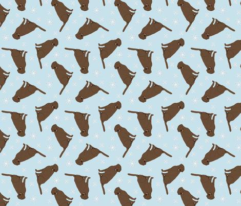 Tiny Chocolate Labrador Retrievers - winter snowflakes fabric by rusticcorgi on Spoonflower - custom fabric