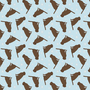 Tiny Chocolate Labrador Retrievers - winter snowflakes
