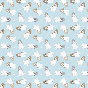 Tiny Petit Basset Griffon Vendeen - winter snowflakes