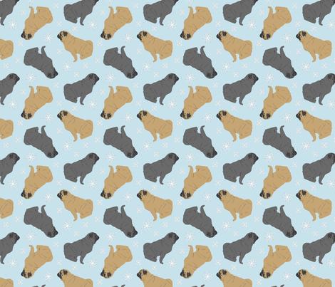 Tiny Pugs - winter snowflakes fabric by rusticcorgi on Spoonflower - custom fabric