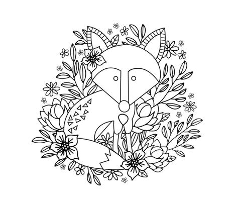 Fox & Floral fabric by shelbyallison on Spoonflower - custom fabric