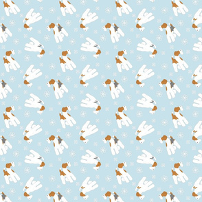 Tiny Wire Fox Terriers - winter snowflakes