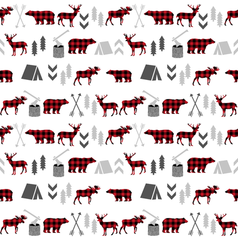buffalo plaid woodland moose deer bear forest woodland trees camping canada kids - tiny  fabric by charlottewinter on Spoonflower - custom fabric