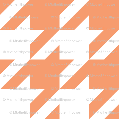 Three Inch Peach and White Houndstooth
