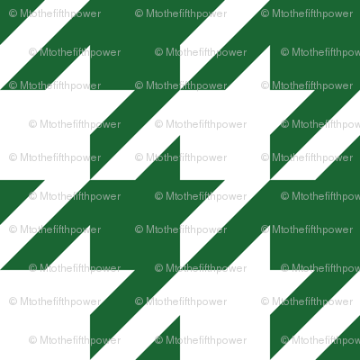 Three Inch Spruce Green and White Houndstooth