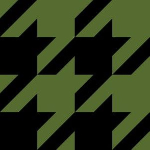 Three Inch Olive Green and Black Houndstooth