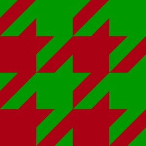 Three Inch Dark Red and Christmas Green Houndstooth