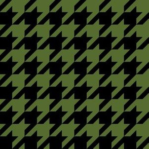 One Inch Olive Green and Black Houndstooth