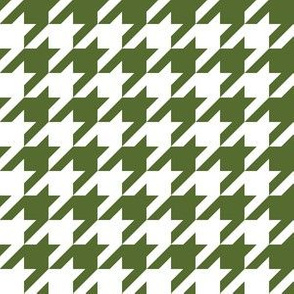 One Inch Olive Green and White Houndstooth
