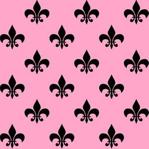 One Inch Black Fleur-de-lis on Carnation Pink