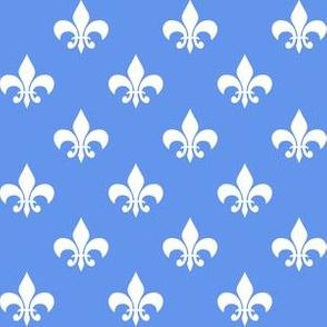 One Inch White Fleur-de-lis on Cornflower Blue