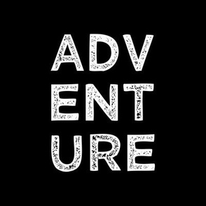 "8"" Adventure quilt block - white on black"