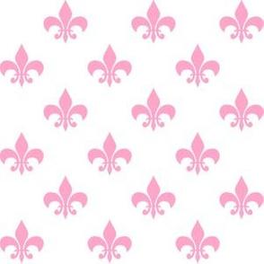 One Inch Carnation Pink Fleur-de-lis on White