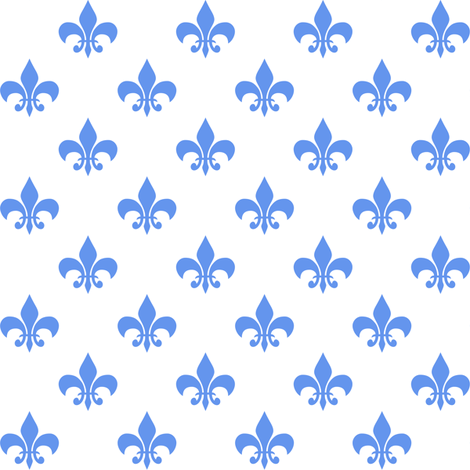 One Inch Cornflower Blue Fleur-de-lis on White fabric by mtothefifthpower on Spoonflower - custom fabric