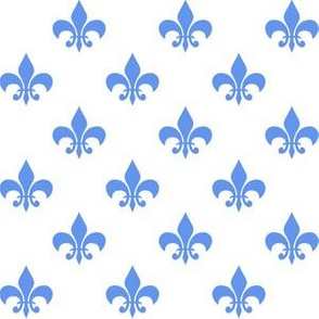 One Inch Cornflower Blue Fleur-de-lis on White